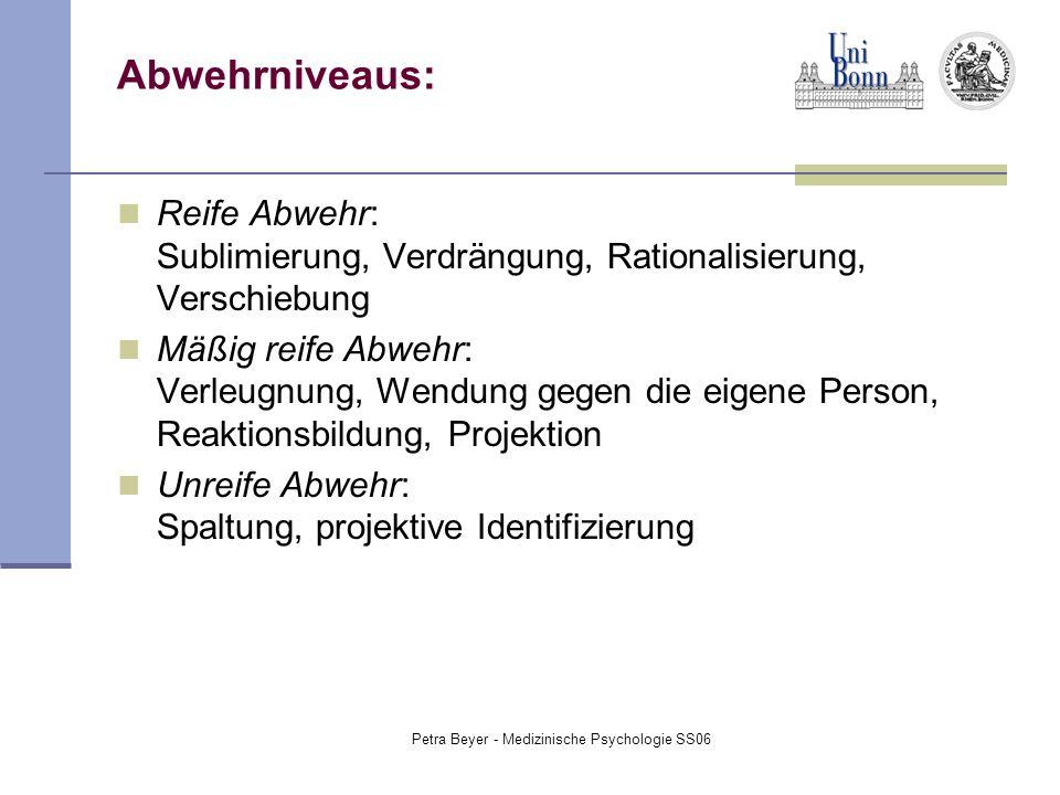 Petra Beyer - Medizinische Psychologie SS06 Abwehrniveaus: Reife Abwehr: Sublimierung, Verdrängung, Rationalisierung, Verschiebung Mäßig reife Abwehr: