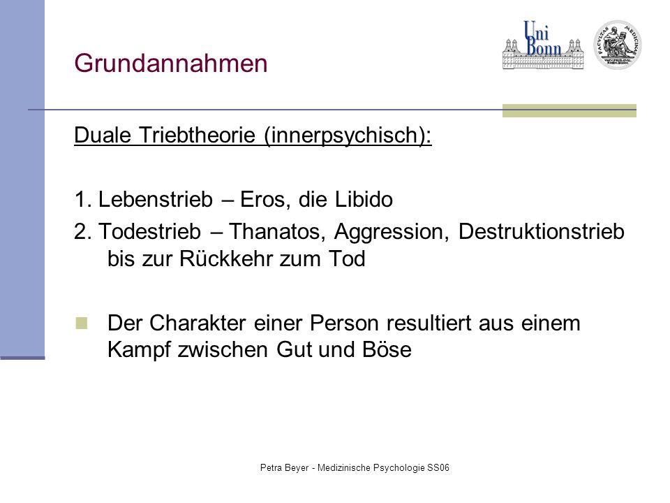 Petra Beyer - Medizinische Psychologie SS06 Grundannahmen Duale Triebtheorie (innerpsychisch): 1. Lebenstrieb – Eros, die Libido 2. Todestrieb – Thana
