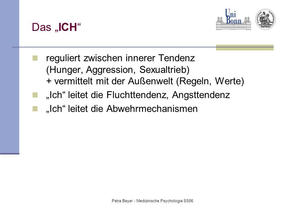 """Petra Beyer - Medizinische Psychologie SS06 Das """"ICH"""" reguliert zwischen innerer Tendenz (Hunger, Aggression, Sexualtrieb) + vermittelt mit der Außenw"""