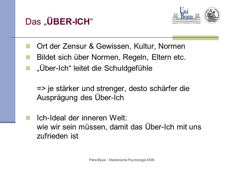 """Petra Beyer - Medizinische Psychologie SS06 Das """"ÜBER-ICH"""" Ort der Zensur & Gewissen, Kultur, Normen Bildet sich über Normen, Regeln, Eltern etc. """"Übe"""