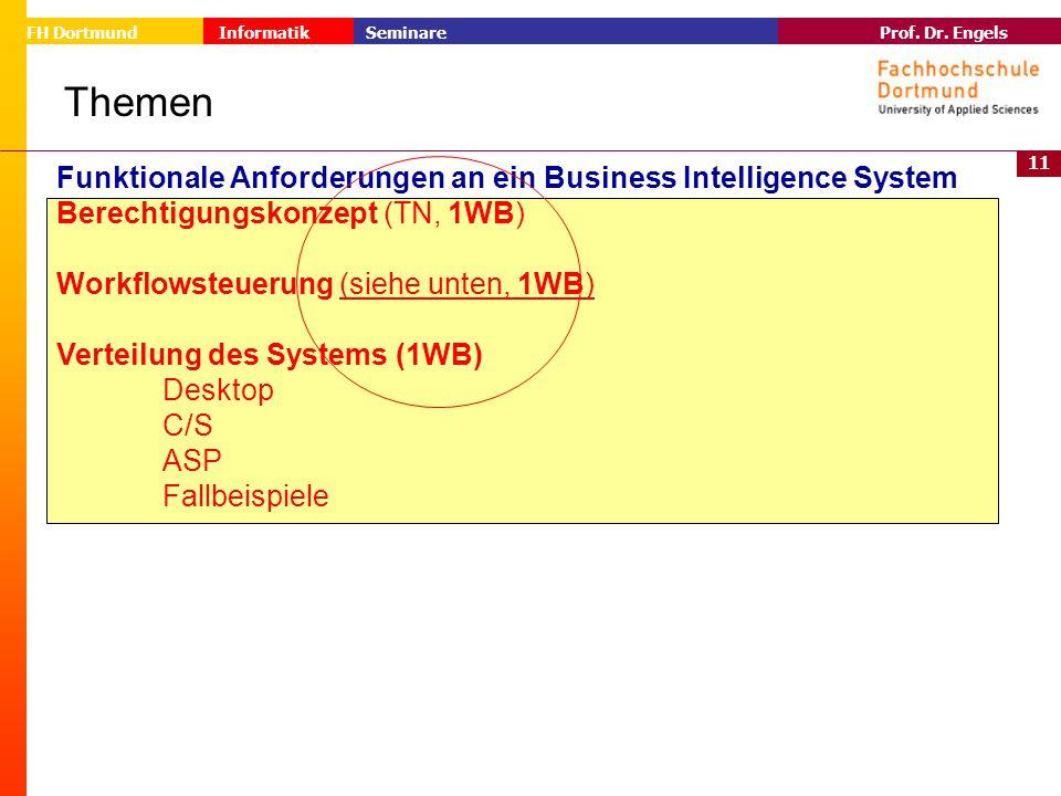 11 Prof. Dr. Engels Informatik Seminare FH Dortmund Themen Funktionale Anforderungen an ein Business Intelligence System Berechtigungskonzept (TN, 1WB