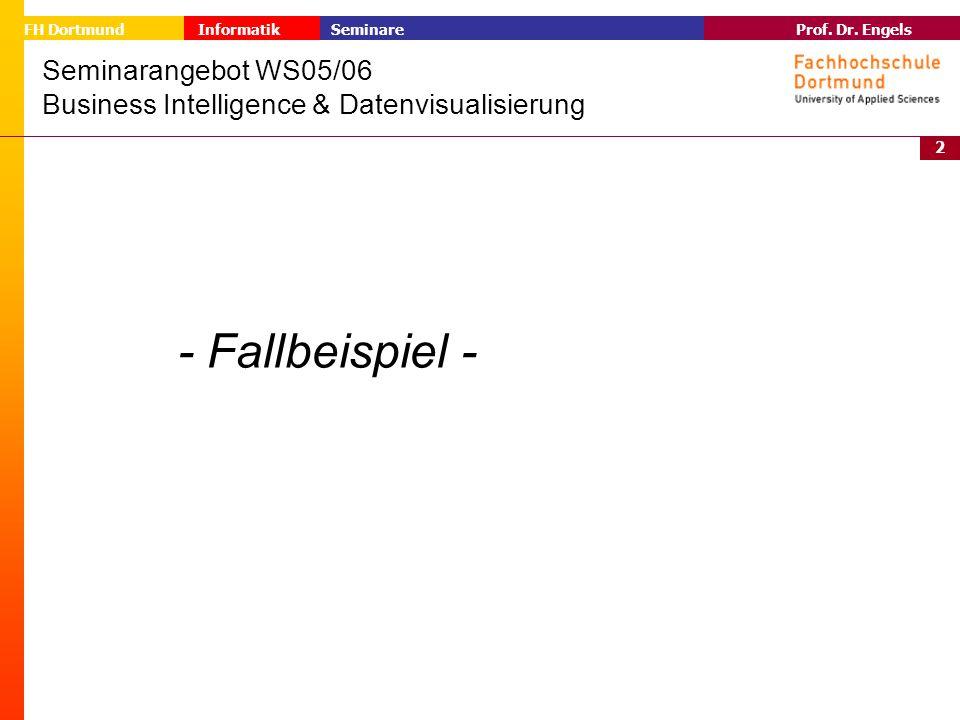 2 Prof. Dr. Engels Informatik Seminare FH Dortmund Seminarangebot WS05/06 Business Intelligence & Datenvisualisierung - Fallbeispiel -