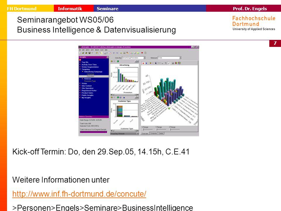 7 Prof. Dr. Engels Informatik Seminare FH Dortmund Seminarangebot WS05/06 Business Intelligence & Datenvisualisierung Kick-off Termin: Do, den 29.Sep.