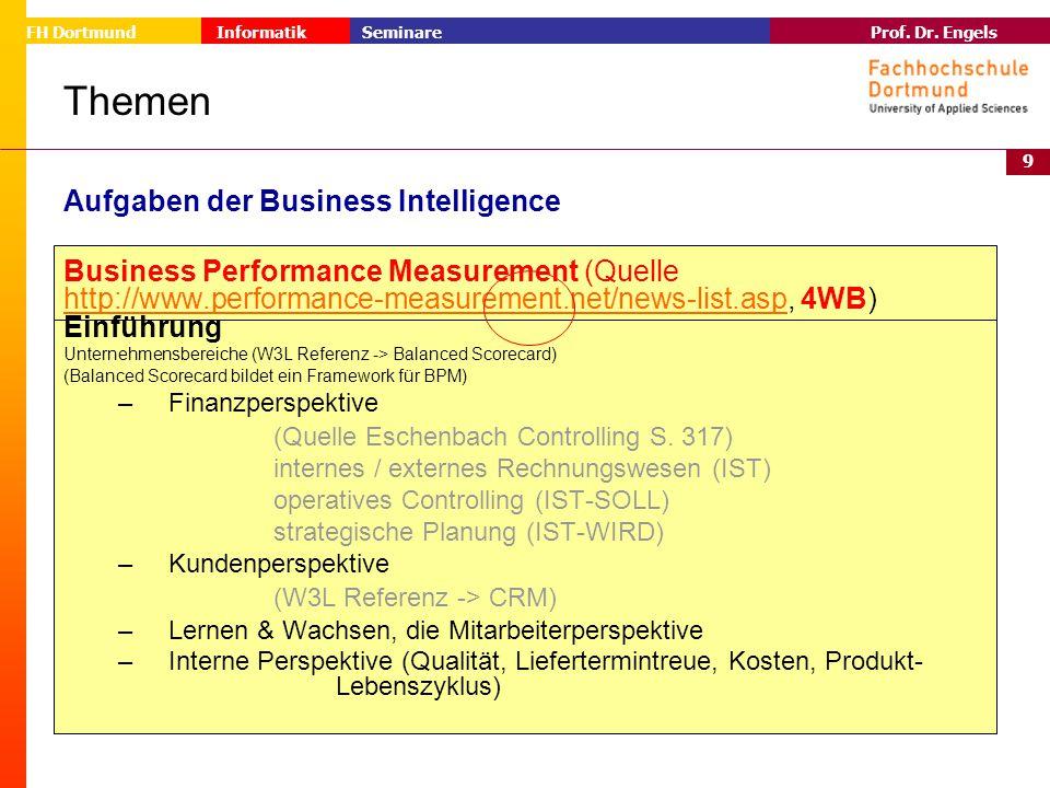 9 Prof. Dr. Engels Informatik Seminare FH Dortmund Themen Aufgaben der Business Intelligence Business Performance Measurement (Quelle http://www.perfo