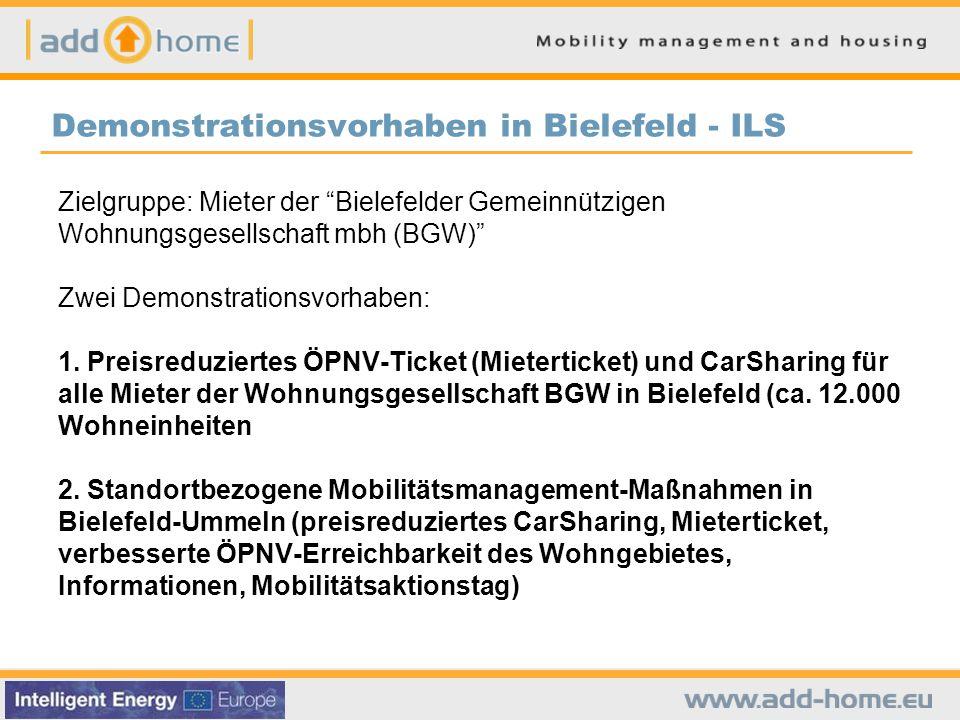 Demonstrationsvorhaben in Bielefeld - ILS Zielgruppe: Mieter der Bielefelder Gemeinnützigen Wohnungsgesellschaft mbh (BGW) Zwei Demonstrationsvorhaben: 1.