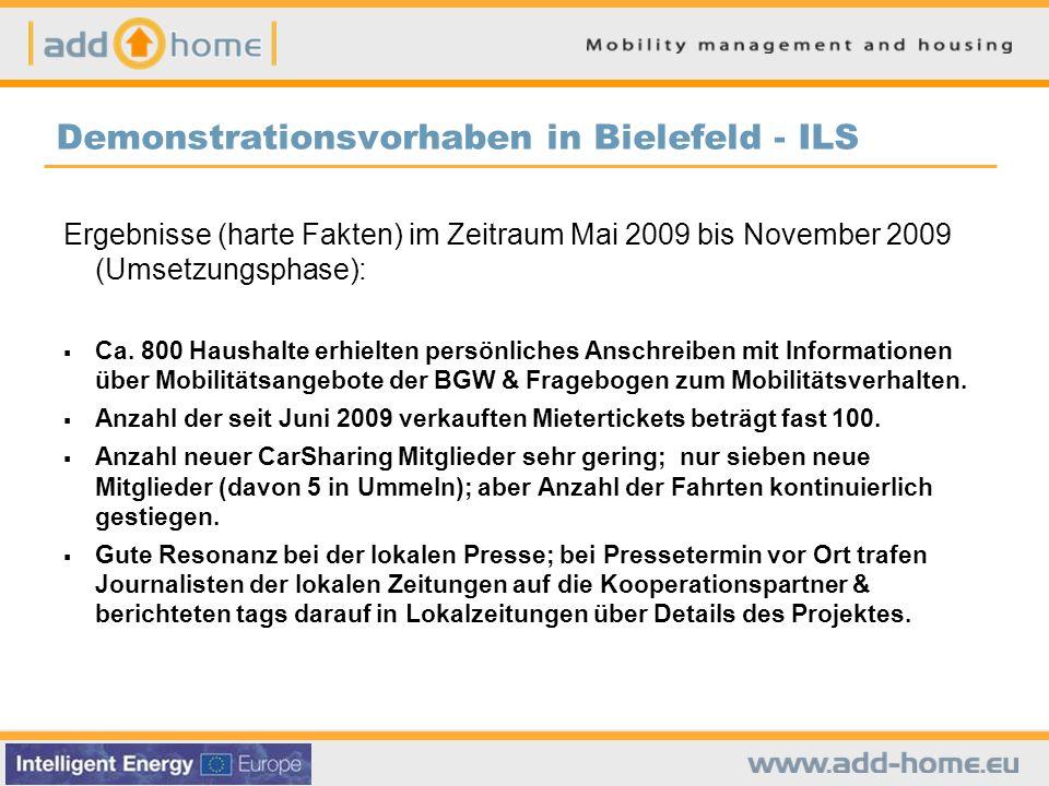 Demonstrationsvorhaben in Bielefeld - ILS Ergebnisse (harte Fakten) im Zeitraum Mai 2009 bis November 2009 (Umsetzungsphase):  Ca.