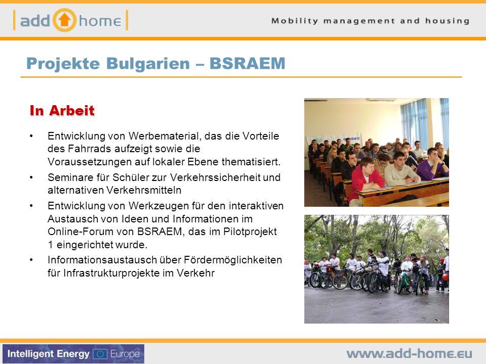 In Arbeit Entwicklung von Werbematerial, das die Vorteile des Fahrrads aufzeigt sowie die Voraussetzungen auf lokaler Ebene thematisiert.