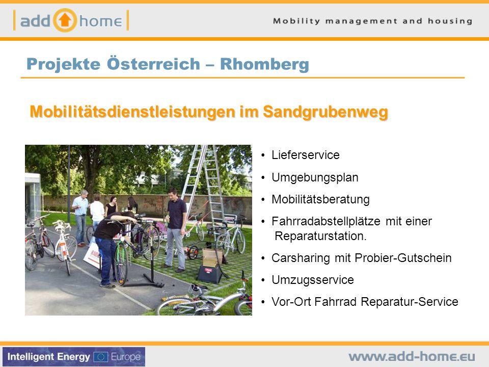 Mobilitätsdienstleistungen im Sandgrubenweg Lieferservice Umgebungsplan Mobilitätsberatung Fahrradabstellplätze mit einer Reparaturstation.