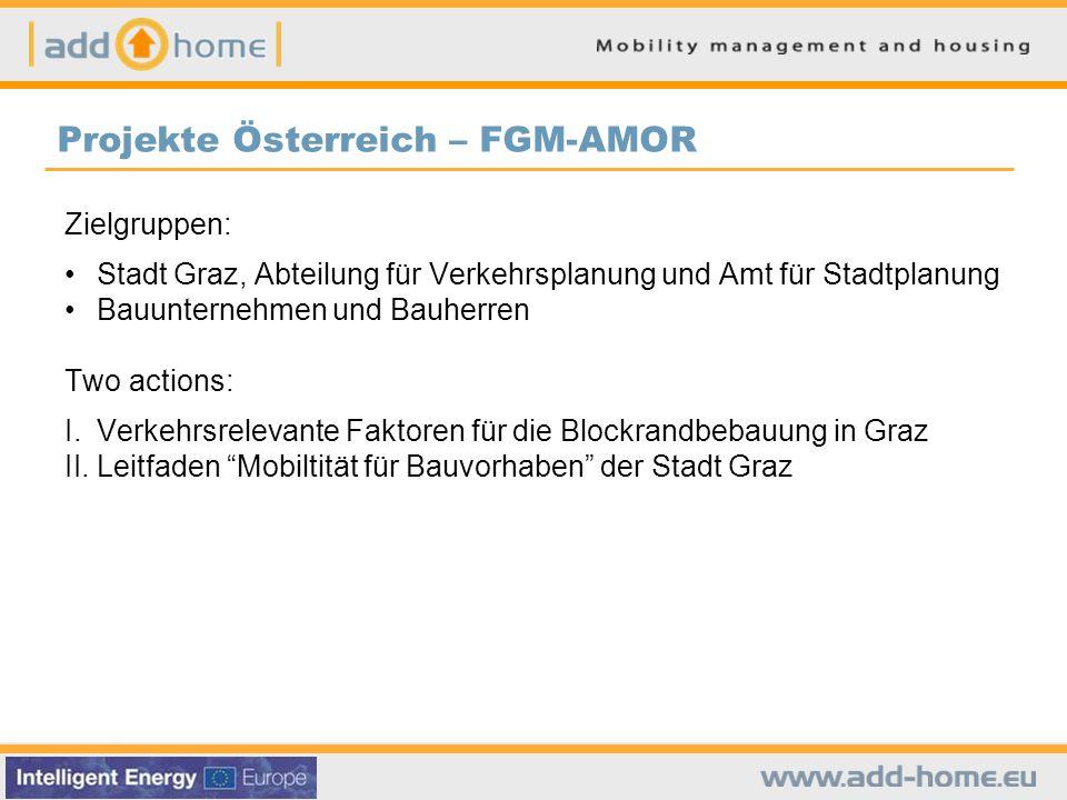 Zielgruppen: Stadt Graz, Abteilung für Verkehrsplanung und Amt für Stadtplanung Bauunternehmen und Bauherren Two actions: I.Verkehrsrelevante Faktoren für die Blockrandbebauung in Graz II.Leitfaden Mobiltität für Bauvorhaben der Stadt Graz