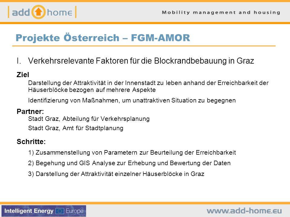 I. Verkehrsrelevante Faktoren für die Blockrandbebauung in Graz Ziel Darstellung der Attraktivität in der Innenstadt zu leben anhand der Erreichbarkei