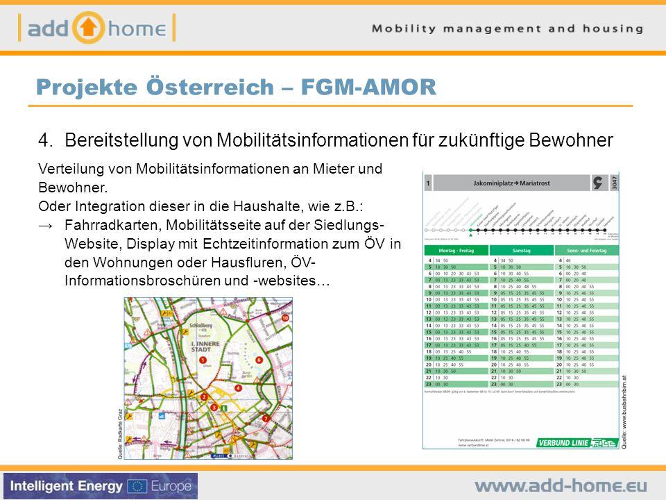 4. Bereitstellung von Mobilitätsinformationen für zukünftige Bewohner Verteilung von Mobilitätsinformationen an Mieter und Bewohner. Oder Integration