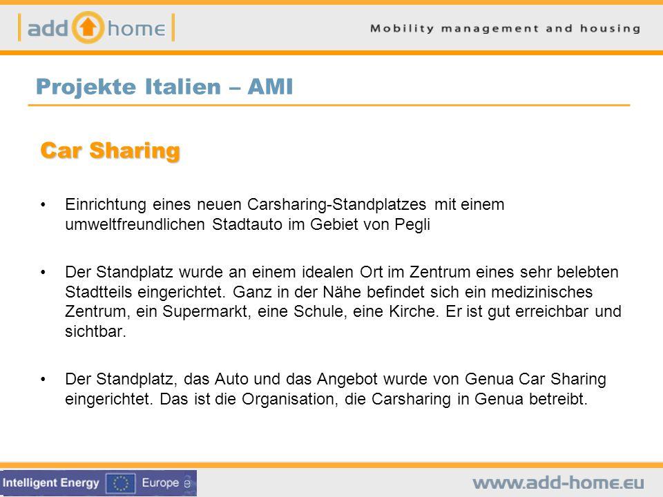 Car Sharing Einrichtung eines neuen Carsharing-Standplatzes mit einem umweltfreundlichen Stadtauto im Gebiet von Pegli Der Standplatz wurde an einem idealen Ort im Zentrum eines sehr belebten Stadtteils eingerichtet.