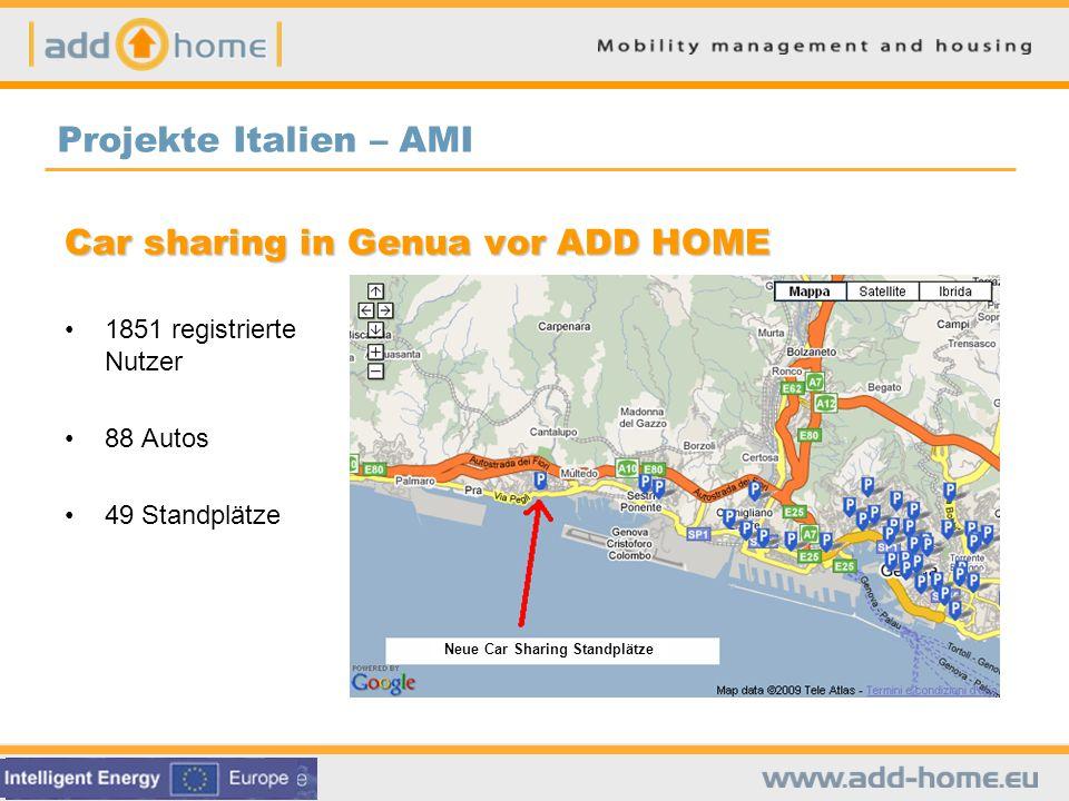 Ziel Das Oberziel dieses Vorzeigeprojektes ist es das Carsharing-Angebot in Richtung Wohngebiete zu erweitern.Partner Stadt Genua, Regionalverwaltung, Genua Car Sharing, AMIZeitplan Feb.