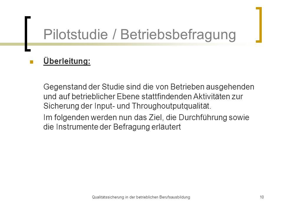 Qualitätssicherung in der betrieblichen Berufsausbildung10 Pilotstudie / Betriebsbefragung Überleitung: Gegenstand der Studie sind die von Betrieben a