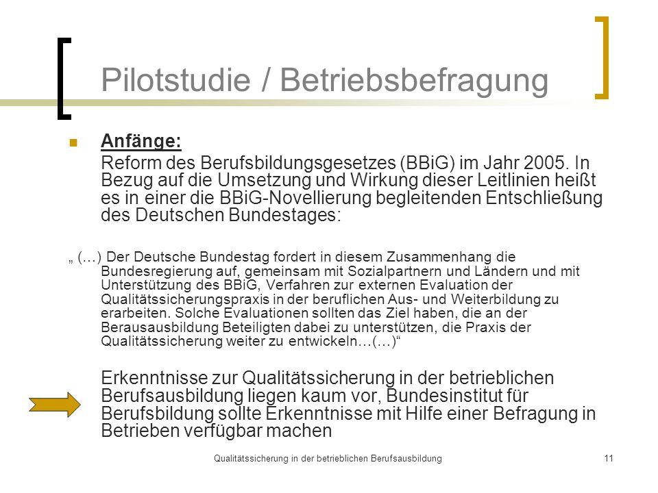 Qualitätssicherung in der betrieblichen Berufsausbildung11 Pilotstudie / Betriebsbefragung Anfänge: Reform des Berufsbildungsgesetzes (BBiG) im Jahr 2005.