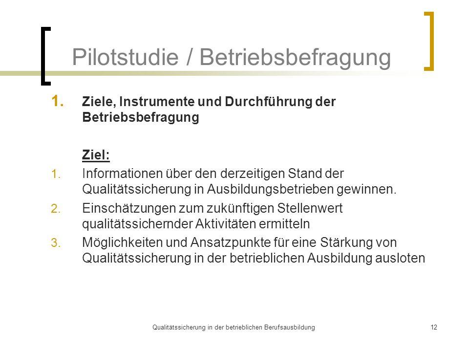 Qualitätssicherung in der betrieblichen Berufsausbildung12 Pilotstudie / Betriebsbefragung 1. Ziele, Instrumente und Durchführung der Betriebsbefragun