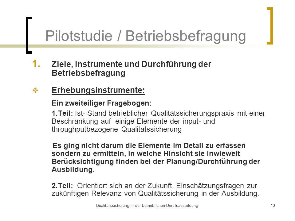 Qualitätssicherung in der betrieblichen Berufsausbildung13 Pilotstudie / Betriebsbefragung 1. Ziele, Instrumente und Durchführung der Betriebsbefragun