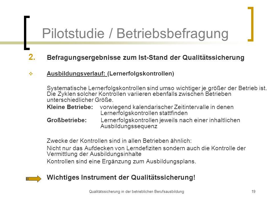 Qualitätssicherung in der betrieblichen Berufsausbildung19 Pilotstudie / Betriebsbefragung 2. Befragungsergebnisse zum Ist-Stand der Qualitätssicherun