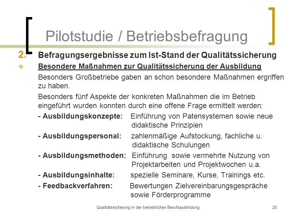 Qualitätssicherung in der betrieblichen Berufsausbildung20 Pilotstudie / Betriebsbefragung 2.