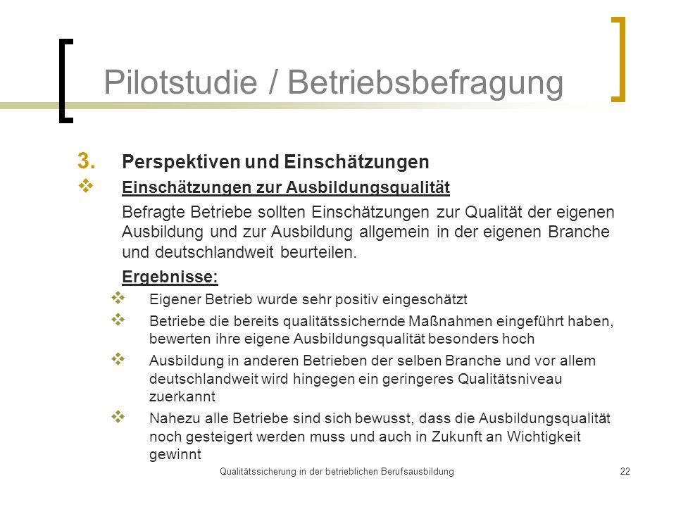 Qualitätssicherung in der betrieblichen Berufsausbildung22 Pilotstudie / Betriebsbefragung 3. Perspektiven und Einschätzungen  Einschätzungen zur Aus