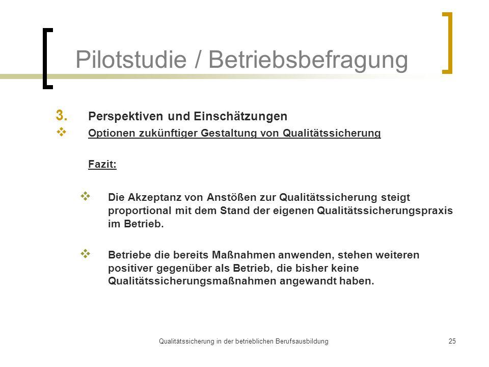Qualitätssicherung in der betrieblichen Berufsausbildung25 Pilotstudie / Betriebsbefragung 3. Perspektiven und Einschätzungen  Optionen zukünftiger G