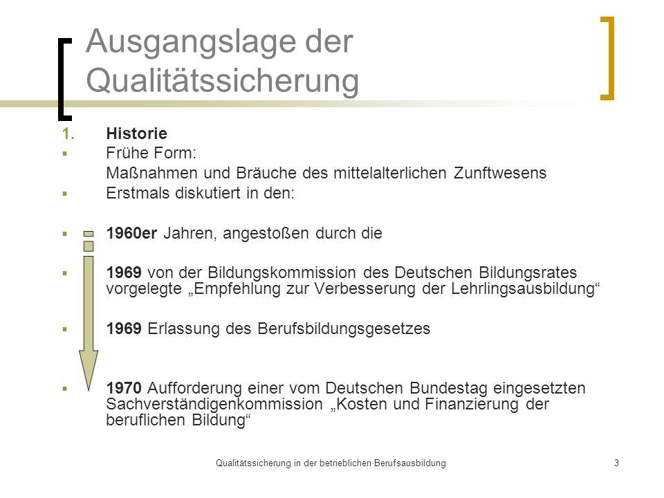 Qualitätssicherung in der betrieblichen Berufsausbildung3 Ausgangslage der Qualitätssicherung 1. Historie  Frühe Form: Maßnahmen und Bräuche des mitt