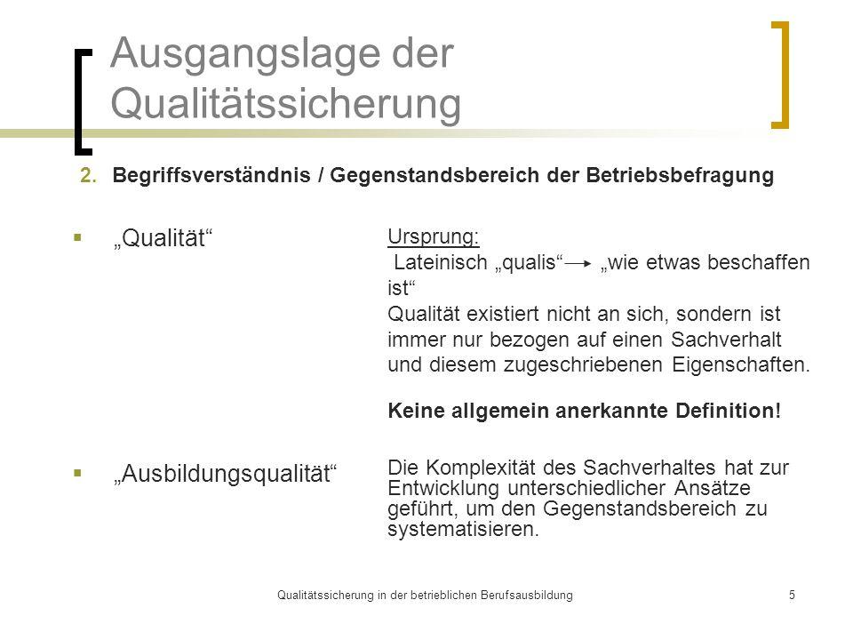 Qualitätssicherung in der betrieblichen Berufsausbildung5 Ausgangslage der Qualitätssicherung 2. Begriffsverständnis / Gegenstandsbereich der Betriebs