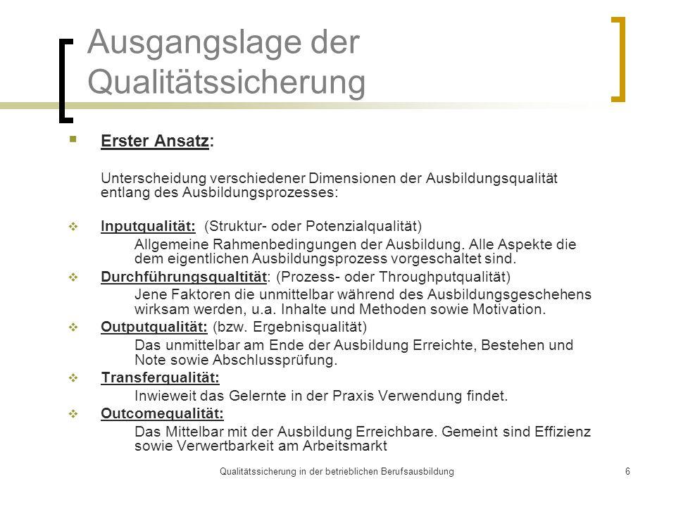 Qualitätssicherung in der betrieblichen Berufsausbildung6 Ausgangslage der Qualitätssicherung  Erster Ansatz: Unterscheidung verschiedener Dimensione