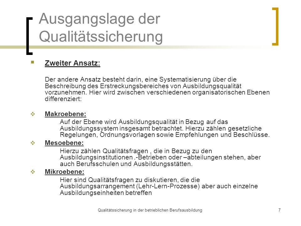 Qualitätssicherung in der betrieblichen Berufsausbildung7 Ausgangslage der Qualitätssicherung  Zweiter Ansatz: Der andere Ansatz besteht darin, eine Systematisierung über die Beschreibung des Erstreckungsbereiches von Ausbildungsqualität vorzunehmen.