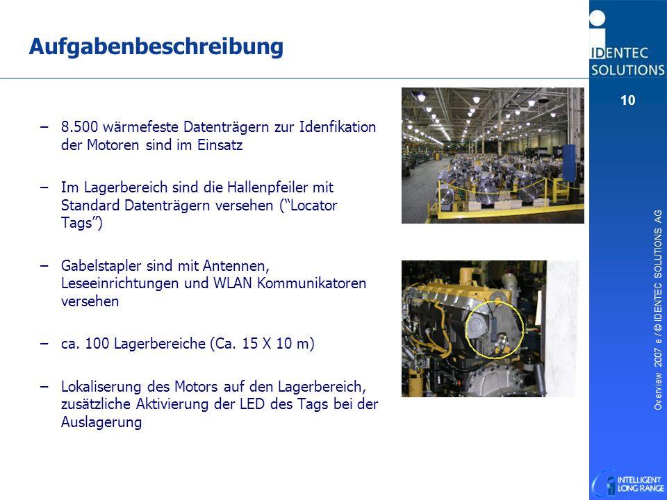 Overview 2007 e / © IDENTEC SOLUTIONS AG 10 – –8.500 wärmefeste Datenträgern zur Idenfikation der Motoren sind im Einsatz – –Im Lagerbereich sind die