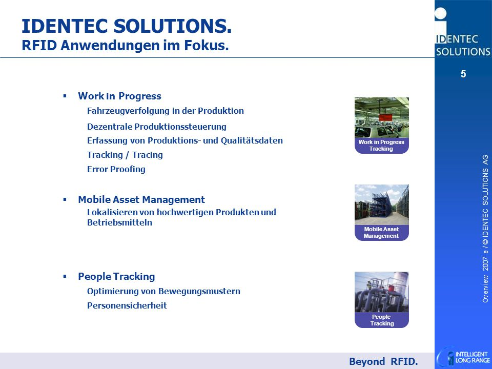 Overview 2007 e / © IDENTEC SOLUTIONS AG 5 IDENTEC SOLUTIONS. RFID Anwendungen im Fokus. Beyond RFID. People Tracking Work in Progress Tracking Mobile