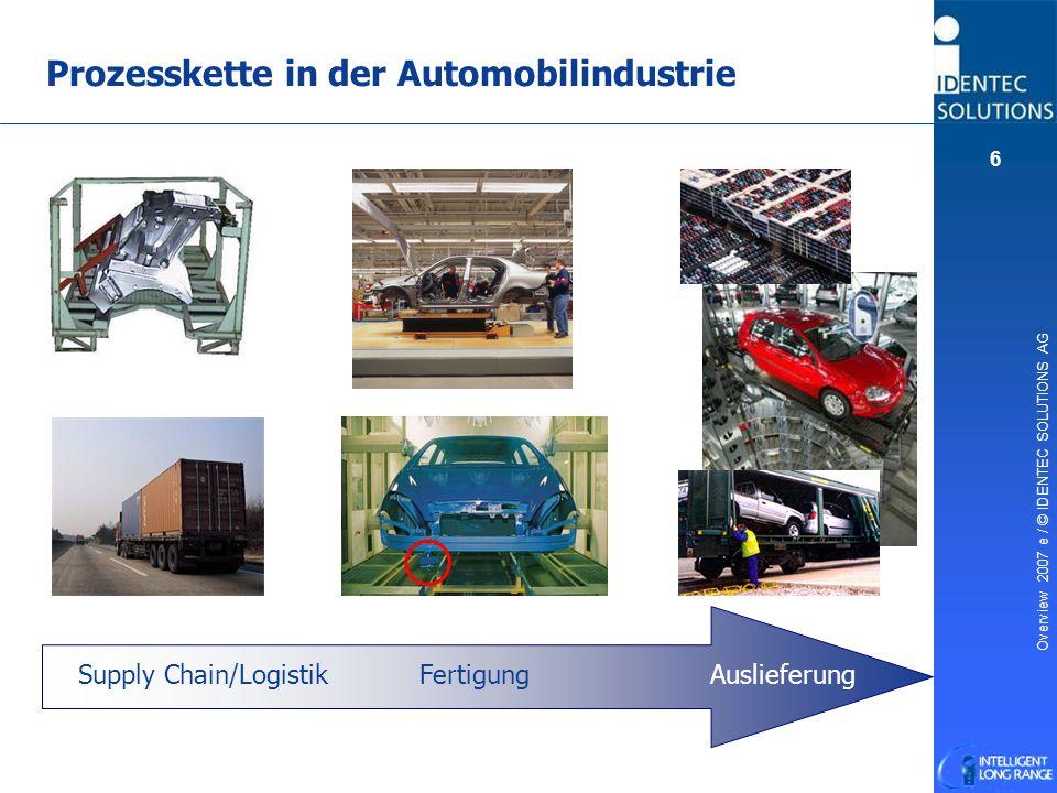 Overview 2007 e / © IDENTEC SOLUTIONS AG 6 Prozesskette in der Automobilindustrie Supply Chain/Logistik FertigungAuslieferung