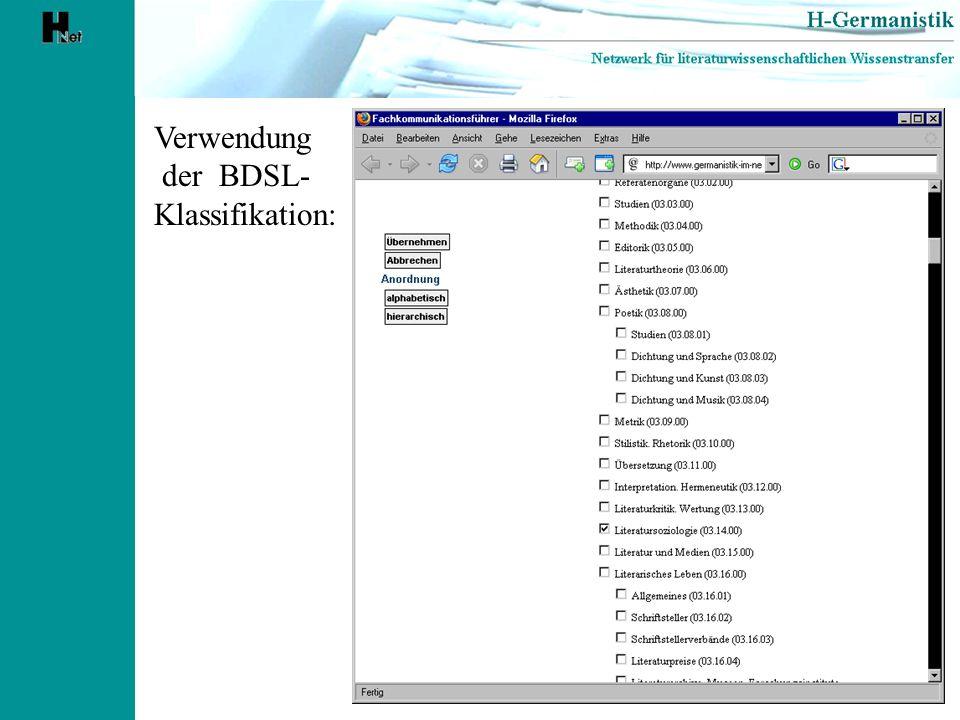 Verwendung der BDSL- Klassifikation: