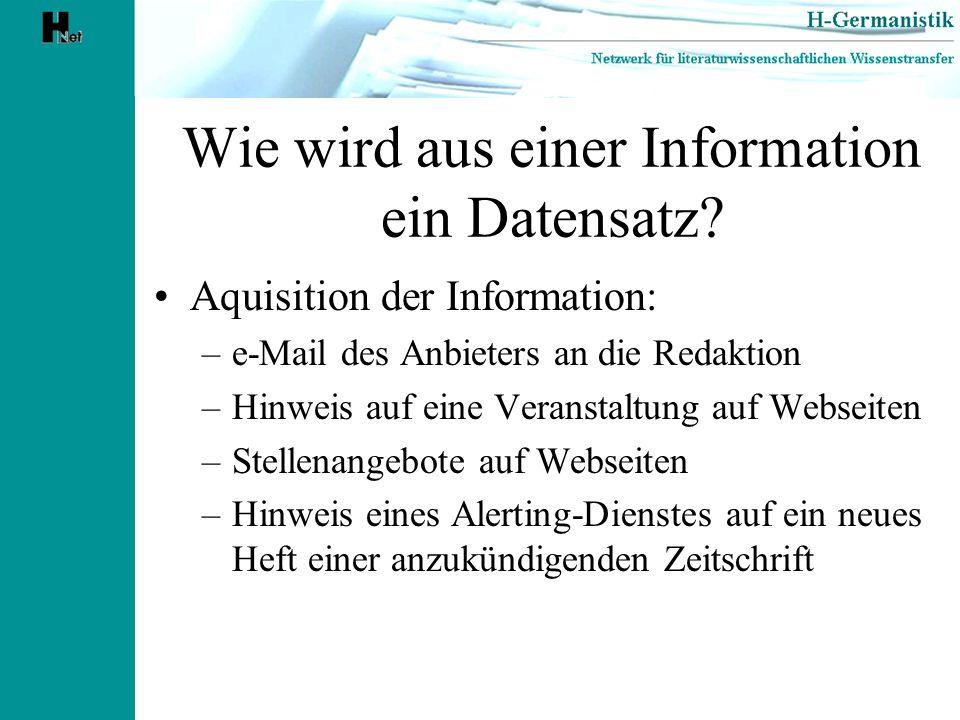 Wie wird aus einer Information ein Datensatz? Aquisition der Information: –e-Mail des Anbieters an die Redaktion –Hinweis auf eine Veranstaltung auf W