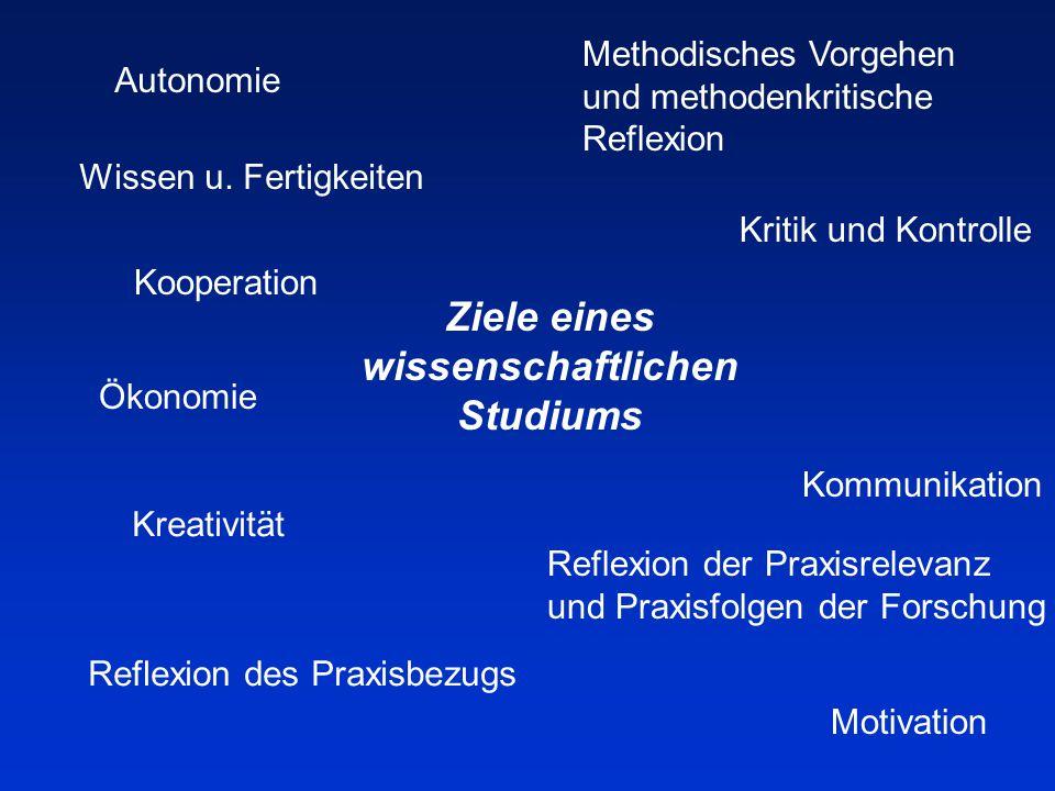 Ziele eines wissenschaftlichen Studiums Autonomie Reflexion des Praxisbezugs Reflexion der Praxisrelevanz und Praxisfolgen der Forschung Methodisches Vorgehen und methodenkritische Reflexion Motivation Wissen u.