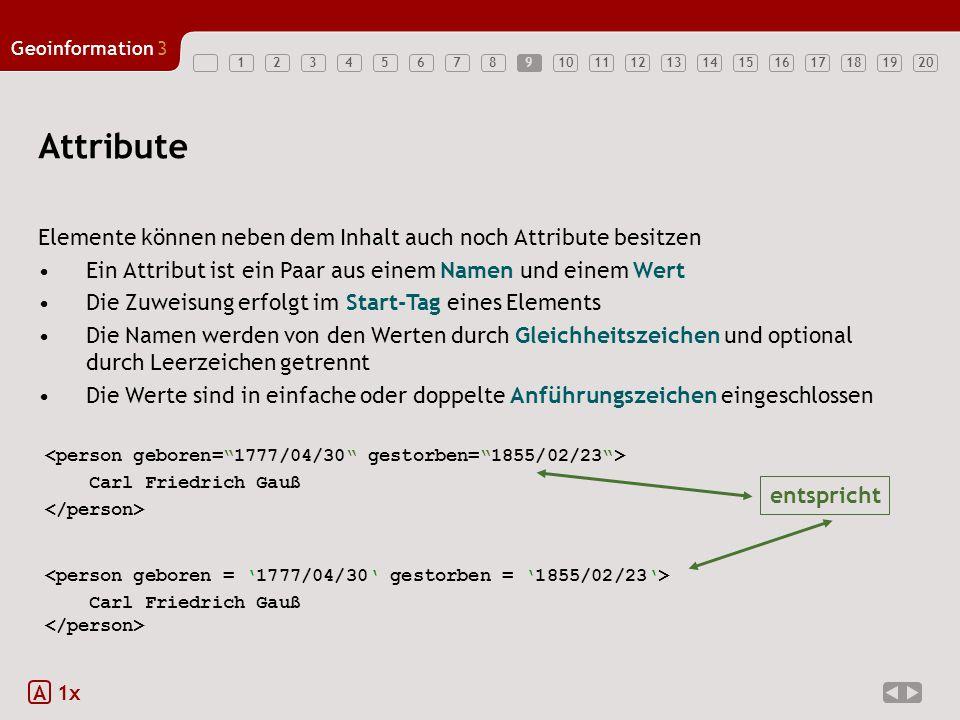 1234567891011121314151617181920 Geoinformation3 Attribute Elemente können neben dem Inhalt auch noch Attribute besitzen Ein Attribut ist ein Paar aus