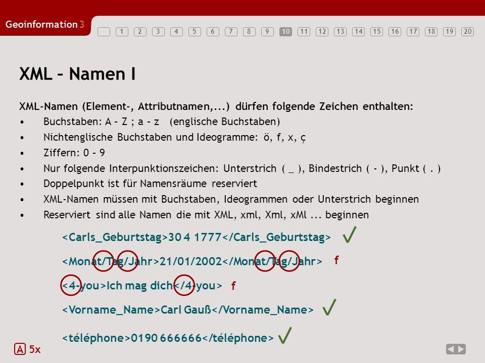 1234567891011121314151617181920 Geoinformation3 10 XML – Namen I XML-Namen (Element-, Attributnamen,...) dürfen folgende Zeichen enthalten: Buchstaben