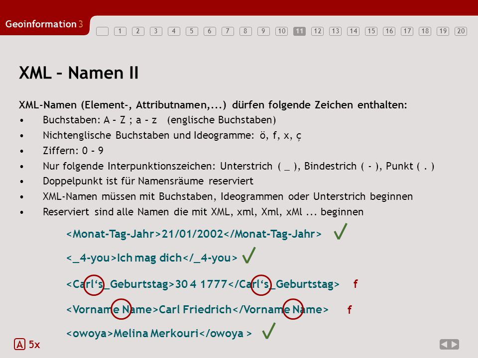 1234567891011121314151617181920 Geoinformation3 11 XML – Namen II A 5x 30 4 1777 21/01/2002 Carl Friedrich Ich mag dich Melina Merkouri f f XML-Namen