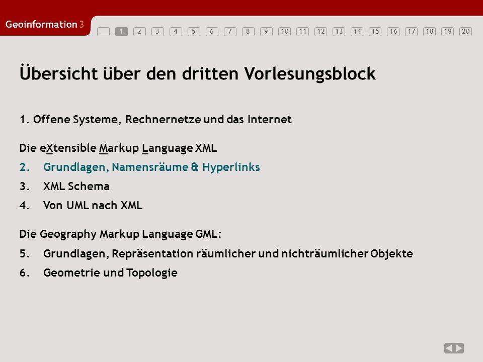1234567891011121314151617181920 Geoinformation3 1 Übersicht über den dritten Vorlesungsblock 1. Offene Systeme, Rechnernetze und das Internet Die eXte