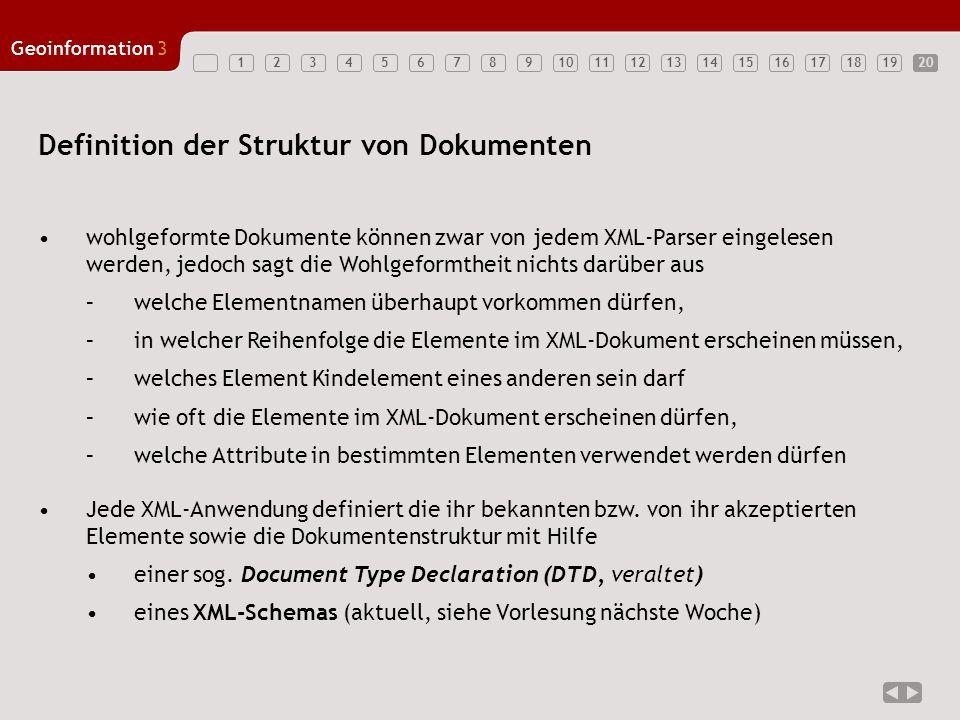 1234567891011121314151617181920 Geoinformation3 20 Definition der Struktur von Dokumenten wohlgeformte Dokumente können zwar von jedem XML-Parser eing
