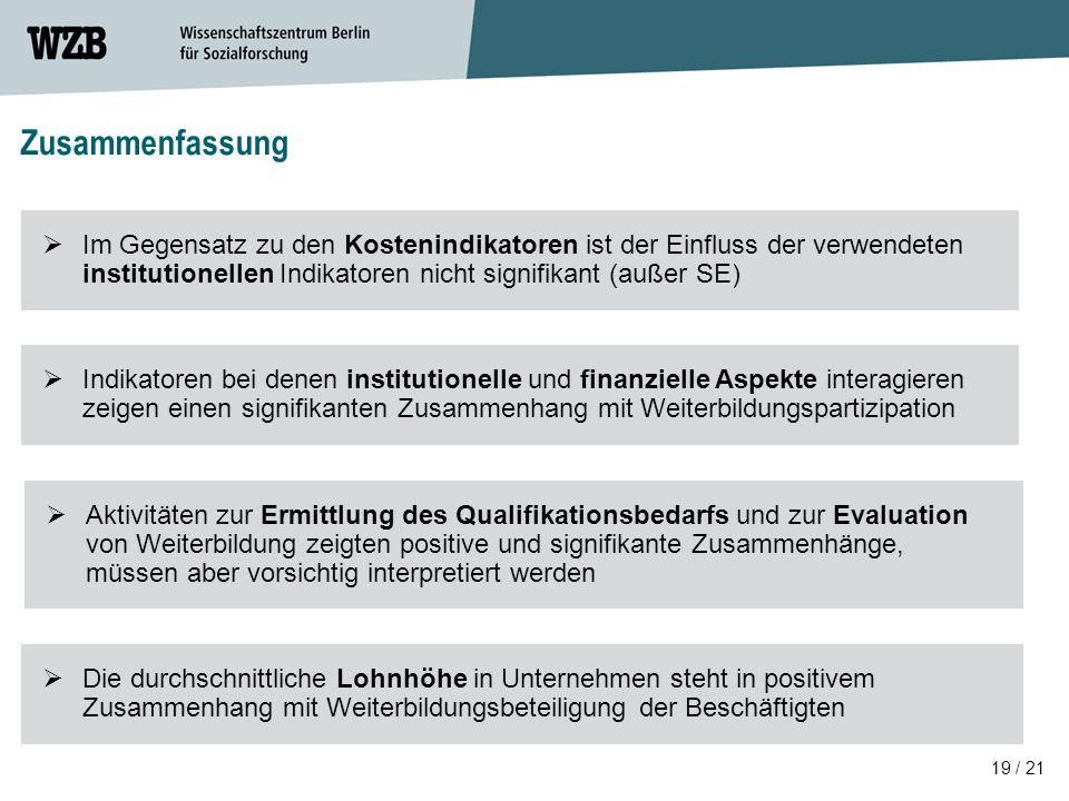 19 / 21 Zusammenfassung  Aktivitäten zur Ermittlung des Qualifikationsbedarfs und zur Evaluation von Weiterbildung zeigten positive und signifikante