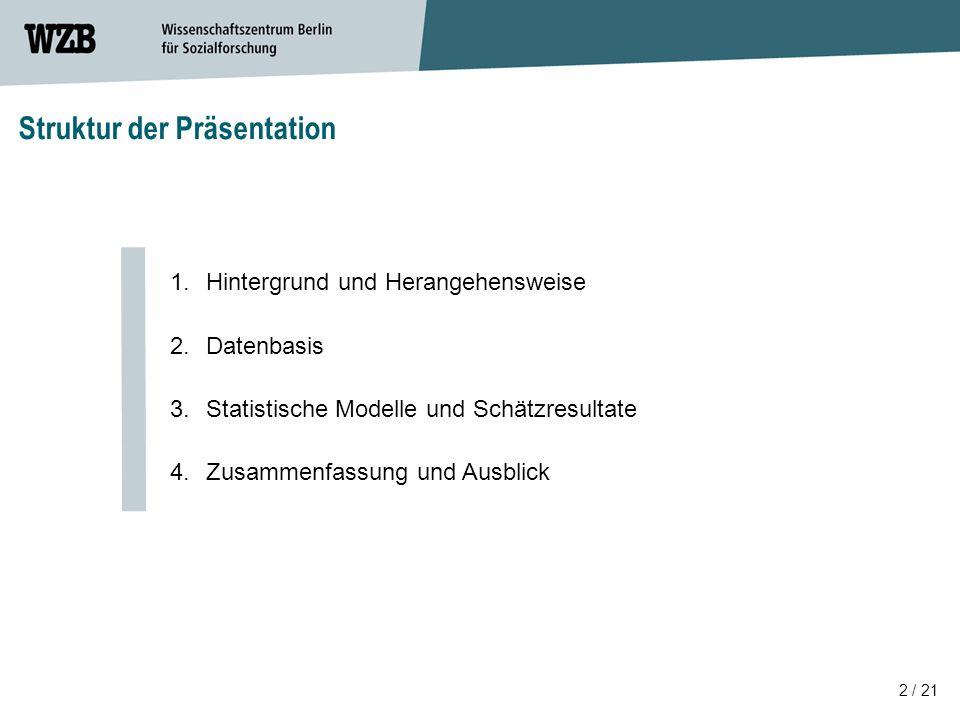2 / 21 Struktur der Präsentation 1.Hintergrund und Herangehensweise 2.Datenbasis 3.Statistische Modelle und Schätzresultate 4.Zusammenfassung und Ausblick