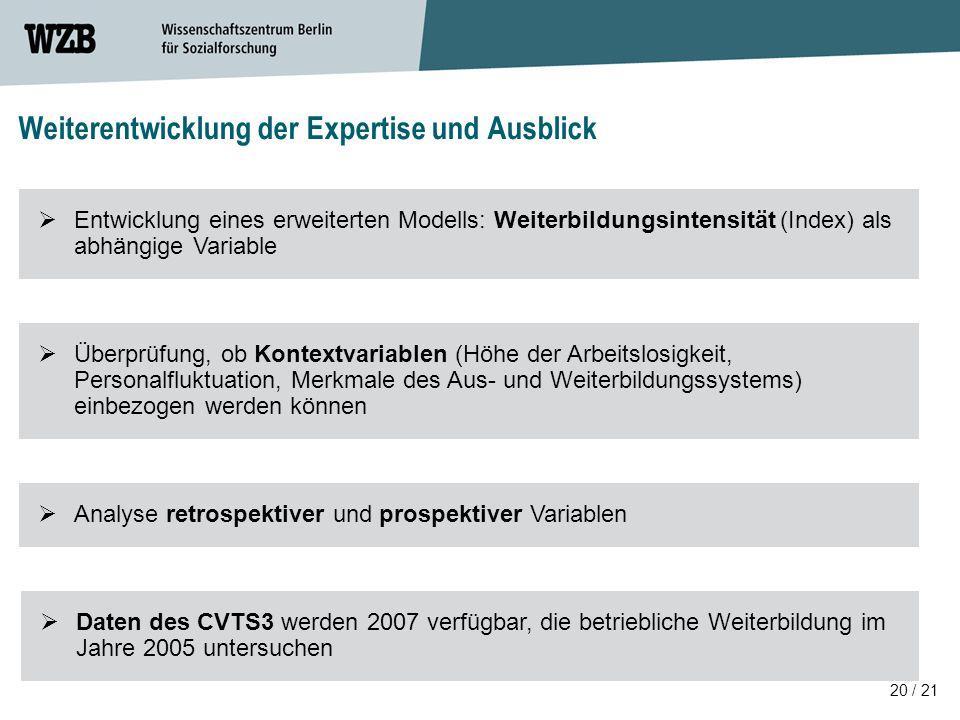 20 / 21 Weiterentwicklung der Expertise und Ausblick  Daten des CVTS3 werden 2007 verfügbar, die betriebliche Weiterbildung im Jahre 2005 untersuchen