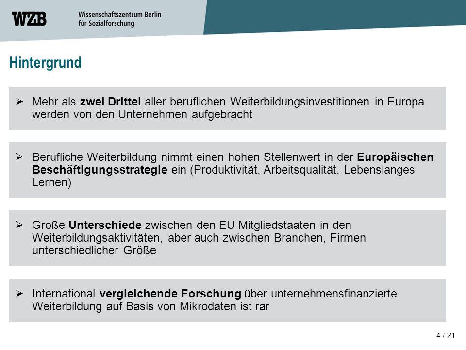 4 / 21 Hintergrund  Mehr als zwei Drittel aller beruflichen Weiterbildungsinvestitionen in Europa werden von den Unternehmen aufgebracht  Große Unte