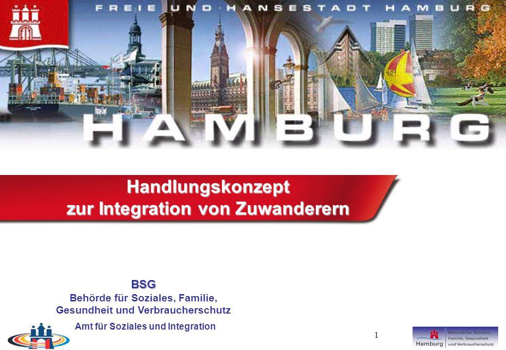 1 BSG Behörde für Soziales, Familie, Gesundheit und Verbraucherschutz Amt für Soziales und Integration Handlungskonzept zur Integration von Zuwanderern