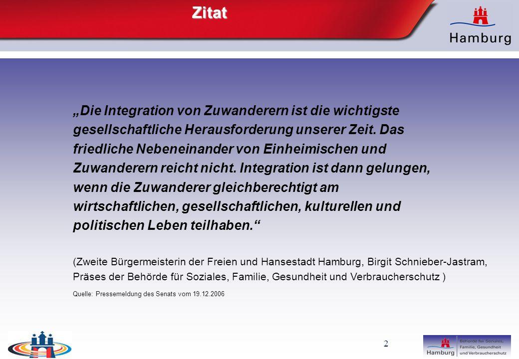"""2Zitat """"Die Integration von Zuwanderern ist die wichtigste gesellschaftliche Herausforderung unserer Zeit."""