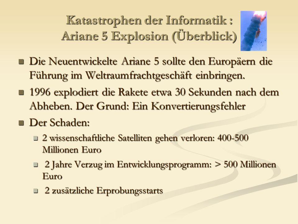 Katastrophen der Informatik : Ariane 5 Explosion (Überblick) Die Neuentwickelte Ariane 5 sollte den Europäern die Führung im Weltraumfrachtgeschäft ei