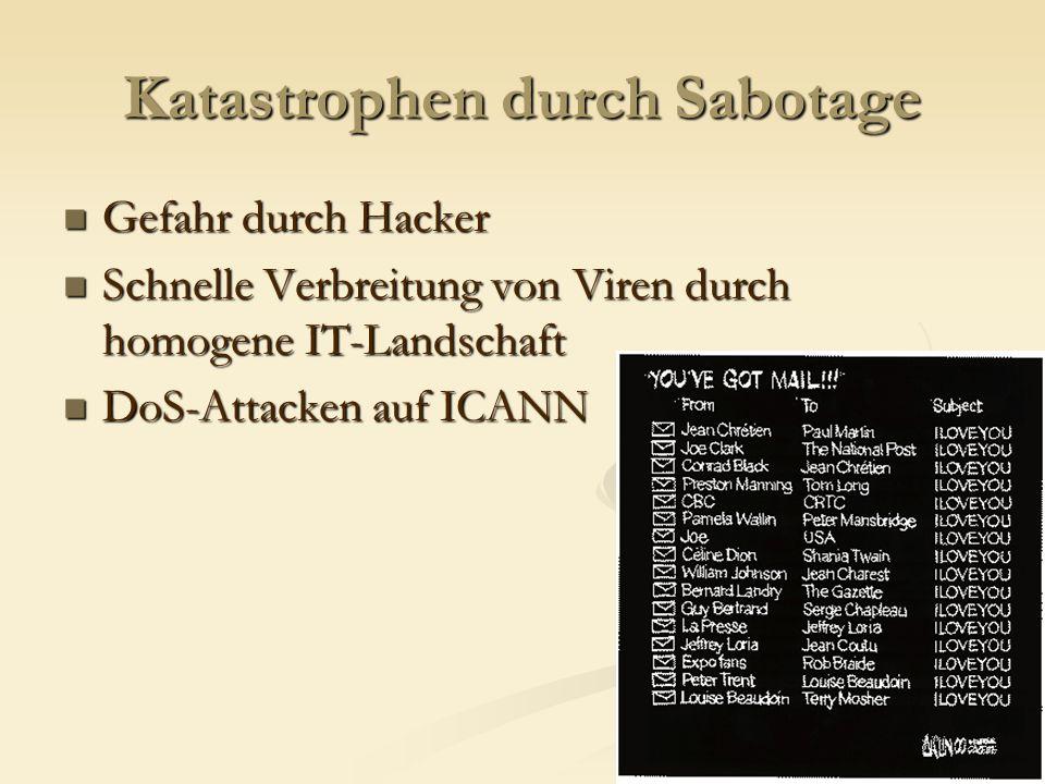 Katastrophen durch Sabotage Gefahr durch Hacker Gefahr durch Hacker Schnelle Verbreitung von Viren durch homogene IT-Landschaft Schnelle Verbreitung von Viren durch homogene IT-Landschaft DoS-Attacken auf ICANN DoS-Attacken auf ICANN