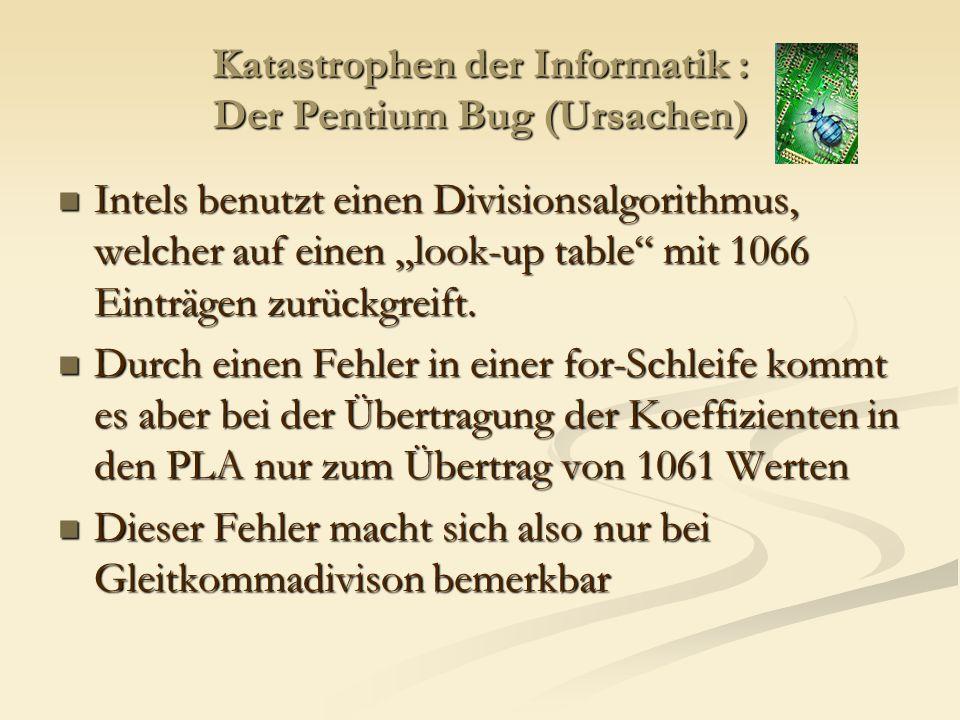 Katastrophen der Informatik : Der Pentium Bug (Auswirkung) Im Mittel kommt es bei 1 von 9 Milliarden Eingaben zum Fehler, was sich auf den Privatbereich nur marginal bemerkbar macht: Im Mittel kommt es bei 1 von 9 Milliarden Eingaben zum Fehler, was sich auf den Privatbereich nur marginal bemerkbar macht: (*)MTBF=Mean Time Before Failure *