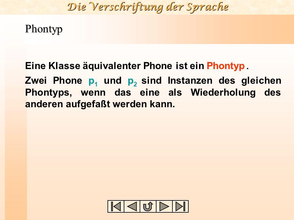 Die Verschriftung der Sprache Phontyp Eine Klasse äquivalenter Phone ist ein Phontyp. Zwei Phone p 1 und p 2 sind Instanzen des gleichen Phontyps, wen